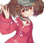 1girl brown_hair commentary_request highres japanese_clothes kantai_collection kariginu magatama manbou_sashimi orange_eyes ryuujou_(kantai_collection) smile solo twintails upper_body visor_cap white_background wide_sleeves