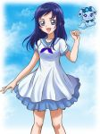 1girl :d bangs blue_eyes blue_hair blue_ribbon blue_sailor_collar collarbone dokidoki!_precure dress hanzou hishikawa_rikka long_hair looking_at_viewer neck_ribbon open_mouth precure rakeru_(dokidoki!_precure) ribbon sailor_collar short_dress short_sleeves smile solo standing swept_bangs white_dress