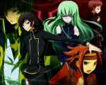 2girls 3boys ashford_academy_uniform black_hair brown_hair c.c. code_geass flipped_hair green_eyes green_hair half-closed_eyes headband kallen_stadtfeld kl knights_of_the_round_uniform kururugi_suzaku lelouch_lamperouge long_hair multiple_boys multiple_girls outstretched_arm redhead rolo_lamperouge school_uniform short_hair violet_eyes yellow_eyes