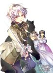 1boy 2girls :d bear black_bear black_hair blush bow brown_eyes brown_hair closed_eyes dress hair_bow hands_up highres holding holding_sword holding_weapon long_hair multiple_girls official_art okashina_tensei open_mouth puffy_sleeves purple_dress shuri_yasuyuki silver_hair smile standing sword tongue tongue_out weapon