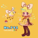 1girl bangs black_earrings black_footwear black_gloves blonde_hair blunt_bangs blush brown_eyes character_name creatures_(company) cutiefly dress earrings elbow_gloves flying full_body game_freak gen_7_pokemon gloves highres jewelry mameeekueya medium_hair moemon nintendo personification poke_ball pokemon pokemon_(creature) pokemon_number shoes simple_background standing star yellow_background yellow_dress