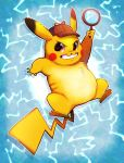 blue_background blush_stickers commentary creature creatures_(company) detective_pikachu detective_pikachu_(movie) electricity english_commentary game_freak gen_1_pokemon grin hat holding holding_magnifying_glass looking_at_viewer magnifying_glass nintendo no_humans pikachu pokemon pokemon_(creature) smile solo vaporotem