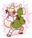1girl animal_ear_fluff animal_ears arm_up aura bangs bare_shoulders blonde_hair blush chibi detached_sleeves eyebrows_visible_through_hair fighting_stance fox_ears fox_girl fox_tail full_body green_shirt green_sleeves hair_between_eyes hair_bun hair_ornament kemomimi-chan_(naga_u) kneehighs long_sleeves looking_at_viewer naga_u orange_neckwear original red_eyes red_footwear ribbon-trimmed_sleeves ribbon_trim shirt sidelocks sleeveless sleeveless_shirt sleeves_past_fingers sleeves_past_wrists solo sparkle standing tail white_legwear zouri