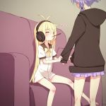 2girls ahoge black_hoodie blonde_hair closed_eyes commentary_request couch eyebrows_visible_through_hair facing_another food headphones heart highres hood hood_down long_hair long_sleeves miniskirt multiple_girls pillow pocky purple_hair purple_skirt short_sleeves sitting skirt sleeve_tug sleeves_past_wrists tsurumaki_maki very_long_hair vocaloid voiceroid yamadori_enka yuzuki_yukari