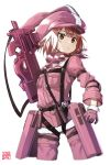 1girl animal_ears brown_eyes brown_hair bullpup cropped_legs fake_animal_ears fur_trim gloves goemon1110 gun hat highres jacket llenn_(sao) long_sleeves military military_uniform p90 pants parted_lips pink_gloves pink_hat pink_jacket pink_pants rabbit_ears short_hair simple_background solo submachine_gun sword_art_online sword_art_online_alternative:_gun_gale_online uniform weapon white_background