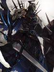 1boy armor fate/grand_order fate_(series) highres holding holding_shield holding_sword holding_weapon king_hassan_(fate/grand_order) male_focus mono_(jdaj) shield shoulder_armor skull solo spaulders sword weapon