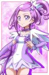 1girl bangs bow choker collarbone covered_nipples cure_sword detached_sleeves dokidoki!_precure earrings grey_bow hair_ornament hairclip hanzou high_ponytail highres jewelry long_hair long_sleeves looking_at_viewer miniskirt parted_bangs precure purple_bow purple_hair purple_sleeves shiny shiny_hair skirt smile solo standing