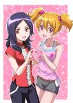 2girls :d bangs belt black_pants blonde_hair breasts brown_eyes cleavage collarbone cowboy_shot eyebrows_visible_through_hair fresh_precure! grey_shorts hair_between_eyes hair_ornament hair_scrunchie hand_on_another's_hip hand_on_another's_shoulder hanzou heart heart_hands heart_hands_duo heart_print higashi_setsuna long_hair looking_at_viewer medium_breasts momozono_love multiple_girls open_mouth pants parted_bangs pink_scrunchie pink_shirt precure print_shirt red_eyes red_shirt scrunchie shiny shiny_hair shirt short_shorts short_twintails shorts sleeveless sleeveless_shirt smile standing twintails