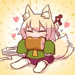1girl afterimage animal_ear_fluff animal_ears bangs blonde_hair blush boned_meat cartoon_bone chibi closed_eyes eating eyebrows_visible_through_hair facing_viewer food fox_ears fox_girl fox_tail full_body green_shirt hair_between_eyes hair_bun hair_ornament heart holding holding_food kemomimi-chan_(naga_u) long_sleeves meat naga_u no_shoes original plate pleated_skirt purple_skirt ribbon-trimmed_legwear ribbon_trim shirt sidelocks sitting skirt sleeves_past_fingers sleeves_past_wrists solo tail tail_wagging thigh-highs white_legwear