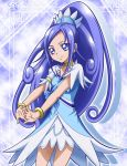 1girl bangs blue_dress blue_eyes blue_hair bracelet choker cowboy_shot cure_diamond dokidoki!_precure dress earrings hair_ornament hanzou high_ponytail hishikawa_rikka jewelry long_hair outstretched_arms parted_bangs precure shiny shiny_hair short_dress short_sleeves smile solo standing very_long_hair