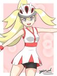 blonde_hair creatures_(company) eyelashes game_freak grey_eyes helmet koruni_(pokemon) nintendo pokemon pokemon_(game) pokemon_xy shorts shorts_under_skirt skirt yensh