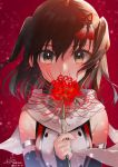 brown_eyes brown_hair commentary_request detached_sleeves flower flower_on_mouth hair_ornament highres holding holding_flower kantai_collection koruri medium_hair red_background remodel_(kantai_collection) scarf sendai_(kantai_collection) shirt sleeveless sleeveless_shirt spider_lily two_side_up upper_body white_scarf