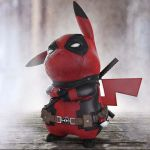 1other belt black_gloves clothed_pokemon commentary cosplay costume creature creatures_(company) danny_devito deadpool deadpool_(cosplay) detective_pikachu detective_pikachu_(movie) english_commentary game_freak gen_1_pokemon gloves ground marvel nintendo no_humans pikachu poke_ball poke_ball_(generic) pokemon pokemon_(creature) ryan_reynolds seiyuu_joke sheath sheathed solo standing sword voice_actor_joke weapon zbrush