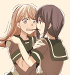 2girls black_hair blush brown_eyes brown_hair commentary face-to-face food hand_on_another's_shoulder kantai_collection kitakami_(kantai_collection) long_hair multiple_girls ooi_(kantai_collection) open_mouth pocky pocky_day pocky_kiss sailor_collar shared_food short_sleeves takamachiya tan_background trembling upper_body yuri