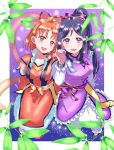 2girls :d bamboo_leaf bangs blue_hair bow braid clothing_request hagoromo hair_bow hair_ornament hair_ribbon highres holding kaisou_(0731waka) long_sleeves looking_at_viewer love_live! love_live!_sunshine!! matsuura_kanan multiple_girls open_mouth orange_hair purple_bow red_bow red_eyes red_ribbon ribbon sash shawl side_braid sidelocks sitting smile star star_hair_ornament striped striped_bow takami_chika tanabata tanzaku violet_eyes