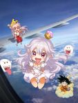 >_< 1boy 2girls :d above_clouds aircraft airplane arm_support bangs black_eyes black_hair blue_footwear blue_sash blue_sky blush_stickers boo bow chibi chinese_commentary clouds collar commentary_request creatures_(company) crossover crown day double_v dougi dragon_ball dress eyebrows_visible_through_hair frilled_collar frills fujiwara_no_mokou game_freak gen_1_pokemon ghost_pose gloves grin hair_between_eyes hair_bow hands_up highres long_hair looking_at_viewer luigi's_mansion mario_(series) mini_crown multiple_girls nintendo open_mouth outdoors pants pikachu pink_hair pointy_ears pokemon pokemon_(creature) pokemon_on_head princess_king_boo puffy_short_sleeves puffy_sleeves red_footwear red_pants redhead sash shadow shangguan_feiying sharp_teeth shirt shoes short_sleeves silver_hair sitting sky smile son_gokuu super_crown suspenders teeth tongue tongue_out touhou v very_long_hair violet_eyes white_bow white_collar white_dress white_gloves white_shirt