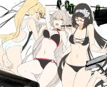 3girls ahoge akinashi_yuu barefoot bikini black_hair blonde_hair breasts fate/grand_order fate_(series) glasses hairband jeanne_d'arc_(alter_swimsuit_berserker) jeanne_d'arc_(fate)_(all) jeanne_d'arc_(swimsuit_archer) long_hair looking_at_viewer medium_breasts multiple_girls navel open_mouth osakabe-hime_(fate/grand_order) silver_hair swimsuit very_long_hair