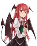 1girl absurdres book collar demon_tail demon_wings head_wings highres holding holding_book kani_nyan koakuma long_hair looking_at_viewer necktie parted_lips pointy_ears red_eyes red_neckwear redhead simple_background solo tail touhou upper_body very_long_hair white_background white_collar wings