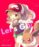 1girl ;d backpack bag bangs baseball_cap blush breasts brown_eyes brown_hair brown_shirt clenched_hand commentary_request creatures_(company) eevee eyebrows_visible_through_hair game_freak gen_1_pokemon green_shorts hair_between_eyes hand_up hat head_tilt kouu_hiyoyo long_hair nintendo one_eye_closed open_mouth outstretched_arm pokemon pokemon_(creature) pokemon_(game) pokemon_lgpe ponytail puffy_short_sleeves puffy_sleeves red_background red_hat shirt short_shorts short_sleeves shorts small_breasts smile touko_(pokemon) twitter_username