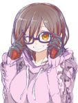 1girl black-framed_eyewear breasts brown_eyes commentary_request gloves grin hood hoodie large_breasts looking_at_viewer naitou_kouse navel one_eye_closed roboco-san roboco_ch. simple_background sketch smile solo virtual_youtuber white_background