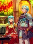 1boy 1girl 2900cm aqua_hair armor blue_eyes blush breastplate brother_and_sister cape eirika ephraim fire_emblem fire_emblem:_seima_no_kouseki fire_emblem_heroes long_hair nintendo open_mouth short_hair siblings