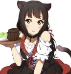 1girl animal_ears bangs black_dress black_hair blush bow cat_ears cat_girl cat_tail cup detached_sleeves dress eyebrows_visible_through_hair green_eyes head_tilt holding holding_tray icehotmilktea kemonomimi_mode kurosawa_dia long_hair love_live! love_live!_sunshine!! mole mole_under_mouth mug parted_lips plate puffy_short_sleeves puffy_sleeves red_bow shirt short_sleeves simple_background solo striped striped_bow tail tray white_background white_shirt