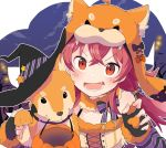 >:d 1girl :d animal_hat bangs bat black_gloves bow chobota claw_pose commentary dog dog_hat fang fingerless_gloves fur_collar gloves halloween halloween_basket hat highres idolmaster idolmaster_shiny_colors komiya_kaho looking_at_viewer lower_teeth night open_mouth pumpkin red_eyes redhead shiba_inu smile solo striped striped_bow twintails upper_body witch_hat