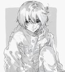 1girl bangs blush daruma_owl greyscale hair_between_eyes highres jacket knee_up looking_at_viewer monochrome nose_blush original short_hair solo