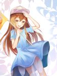 1girl :d absurdres baseball_cap blue_dress brown_eyes brown_hair dress dutch_angle flag floating_hair hair_between_eyes hat hataraku_saibou highres holding holding_flag long_hair looking_at_viewer open_mouth platelet_(hataraku_saibou) shiny shiny_hair short_dress short_sleeves smile smile2007h solo standing very_long_hair white_hat