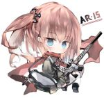 1girl ar-15 bag black_footwear black_jacket blue_eyes blush boots brown_hair character_name chibi closed_mouth commentary_request full_body girls_frontline gun hair_ornament holding holding_gun holding_weapon jacket kotatu_(akaki01aoki00) looking_at_viewer looking_back neck_ribbon object_namesake red_ribbon red_scarf ribbon rifle scarf shoe_soles shoulder_bag simple_background solo st_ar-15_(girls_frontline) thigh-highs twintails weapon white_background white_legwear