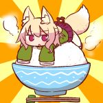 1girl animal_ear_fluff animal_ears bangs bell blonde_hair blush bowl brown_footwear chopsticks eyebrows_visible_through_hair food fox_ears fox_girl fox_tail green_shirt hair_between_eyes hair_bun hair_ornament in_food jingle_bell kemomimi-chan_(naga_u) long_hair long_sleeves looking_at_viewer lying naga_u on_stomach original parted_lips pleated_skirt purple_skirt red_eyes ribbon-trimmed_legwear ribbon_trim rice rice_bowl shirt sidelocks skirt sleeves_past_fingers sleeves_past_wrists solo steam sunburst tail thigh-highs white_legwear