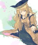 1girl bangs black_hat black_legwear blonde_hair breasts cherry_blossoms closed_eyes detached_sleeves eyebrows_visible_through_hair green_skirt half-closed_eyes hat head_tilt hisona_(suaritesumi) leaning_forward light_smile long_hair looking_at_viewer matara_okina medium_breasts outstretched_arm petals shirt sitting skirt socks solo tabard touhou white_shirt wide_sleeves yellow_eyes yokozuwari