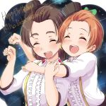 2girls :d ^_^ bangs_pinned_back black_hat bow brown_hair center_frills character_name closed_eyes closed_eyes collared_shirt dated earrings green_bow hair_bow hand_on_another's_arm happy_birthday hat hoop_earrings hoshizora_rin hug hug_from_behind iida_riho jewelry love_live! love_live!_school_idol_festival love_live!_school_idol_project multiple_girls open_mouth orange_hair paw_pose seiyuu seiyuu_connection sen_(sen0910) shirt short_hair smile suspenders upper_body