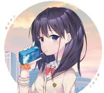 1girl ai_cao bangs blush bow bowtie brown_cardigan brown_hair building cardigan closed_mouth clouds cloudy_sky collared_shirt commentary_request copyright_name drinking drinking_straw eyebrows_visible_through_hair hair_between_eyes holding juice_box long_hair long_sleeves looking_at_viewer red_neckwear shirt sky skyscraper solo ssss.gridman sunset takarada_rikka upper_body violet_eyes white_shirt