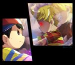 3boys baseball_cap battle black_hair blonde_hair commentary_request evil_grin evil_smile ghost glaring glowing glowing_eyes grin hair_over_eyes hat light_particles lucas mother_(game) mother_2 mother_3 multiple_boys mxx_gm ness nintendo pointing porky_minch possessed red_eyes shaded_face smile spider_legs super_smash_bros. super_smash_bros._ultimate twitter_username violet_eyes