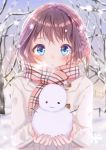 1girl absurdres bare_tree blue_eyes blush braid french_braid grey_sky highres looking_at_viewee medium_hair mouth_openblush original outdoors pink_scarf plaid plaid_scarf potate scarf snow snowflakes snowing snowman solo standing tree upper_body white_coat