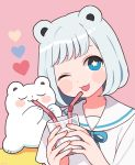 1girl animal_ears bangs bear bear_ears blue_eyes blush closed_eyes cup drinking drinking_straw heart highres holding holding_cup medium_hair nokanok one_eye_closed open_mouth original pink_background sailor_collar shirt short_sleeves silver_hair sitting smile star star-shaped_pupils symbol-shaped_pupils upper_body white_shirt
