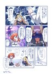 2girls abigail_williams_(fate/grand_order) angry bangs basket belt blonde_hair blue_eyes bow chaldea_uniform closed_eyes comic commentary_request cookie cup dress eating fate/grand_order fate_(series) food fujimaru_ritsuka_(female) glowing glowing_eyes hair_between_eyes hair_bow hidden_eyes hole_in_head keyhole kneeling long_hair long_sleeves multiple_belts multiple_girls open_mouth orange_eyes orange_hair pantyhose parted_bangs pleated_skirt shaded_face side_ponytail sidelocks skirt stuffed_animal stuffed_toy surprised sweatdrop teacup teapot teddy_bear tomoyohi translation_request wide_sleeves