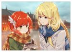 1boy 1girl blonde_hair fire_emblem fire_emblem:_rekka_no_ken food green_eyes holding holding_food jacket long_hair lucius nintendo priscilla_(fire_emblem) redhead scarf sisuko1016 smile winged_hair_ornament yellow_eyes