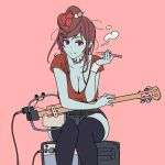 alternate_costume amplifier banjo blue_skin breasts casual cleavage hair_ornament half-closed_eyes holding holding_pipe instrument large_breasts onsen_tamago_(hs_egg) pink_background pipe red_eyes red_shirt shirt short_sleeves simple_background sitting smoking stitches thigh-highs yuugiri_(zombieland_saga) zombie zombieland_saga