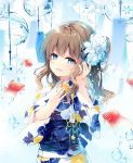 1girl :d bangs blue_eyes blue_ribbon blurry blurry_foreground blush brown_hair depth_of_field eyebrows_visible_through_hair fish floral_print flower goldfish hair_flower hair_ornament hair_ribbon hair_tucking half-closed_eyes hand_up head_tilt japanese_clothes kimono long_hair long_sleeves looking_at_viewer mochizuki_shiina nail_polish obi one_side_up open_mouth original pink_nails print_kimono ribbon sash sidelocks smile solo upper_body water_drop wavy_hair white_flower white_kimono wide_sleeves wind_chime