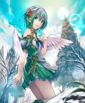 1girl :d angel_wings aqua_eyes artist_request bare_tree belt boots clouds cloudy_sky cygames eyebrows_visible_through_hair flower gold_trim green_hair green_skirt hair_flower hair_ornament lens_flare looking_at_viewer miriam_(shadowverse) open_mouth pointy_ears ribbon shadowverse short_hair skirt sky smile snow spruce tree wings