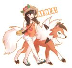 1girl :d arms_behind_back bag braid brown_eyes brown_hair creatures_(company) flat_chest floral_print flower game_freak gen_7_pokemon green_eyes handbag hat hat_flower hibiscus lycanroc mizuki_(pokemon) nintendo open_mouth pokemon pokemon_(creature) pokemon_(game) pokemon_sm puffy_shorts shoes short_shorts shorts smile sneakers standing walking white_background yukimich