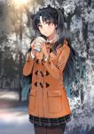1girl black_hair black_legwear blush breath coat crown cup fate/grand_order fate_(series) forest ice_(ice_aptx) ishtar_(fate/grand_order) long_hair looking_at_viewer nature outdoors pantyhose pleated_skirt red_eyes skirt snow solo winter_clothes winter_coat
