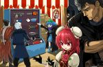 2girls 4boys berserk black_hair blue_footwear blue_hair chainsaw crossover devil_may_cry devil_may_cry_5 eyepatch flower guts hat highres ibaraki_kasen jacket kawashiro_nitori kira_yoshikage mechanical_arm metal_gear_(series) multiple_boys multiple_girls nero_(devil_may_cry) okema red_eyes redhead scarf short_hair silver_hair touhou venom_snake