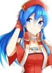 1girl blue_eyes blue_hair capelet closed_mouth fire_emblem fire_emblem:_fuuin_no_tsurugi hand_in_hair hat highres lilina long_hair nintendo red_hat simple_background smile solo tpicm upper_body white_background