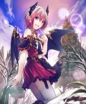 1girl :d artist_request bare_shoulders bare_tree belt boots clouds cloudy_sky cygames demon_girl demon_horns demon_wings eyebrows_visible_through_hair fang garter_straps gold_trim horns lens_flare looking_at_viewer miriam_(shadowverse) open_mouth pointy_ears red_eyes red_skirt redhead shadowverse short_hair skirt sky smile snow spruce thigh-highs tree wings