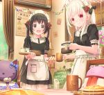 2girls :d abo_(kawatasyunnnosukesabu) air_conditioner apron bangs black_bow black_dress black_eyes black_hair bow coffee coffee_pot collared_dress commentary_request cup curtains dress flower food frilled_skirt frills hair_bow hair_flower hair_ornament highres holding holding_cup holding_plate indoors long_hair looking_at_viewer maid maid_dress maid_headdress menu_board multiple_girls open_mouth original pancake paper_chain pink_flower plant plate potted_plant red_eyes red_flower red_rose rose sandwich saucer short_sleeves siblings sidelocks sisters skirt smile stuffed_animal stuffed_toy tray twintails vines white_apron white_hair window
