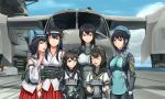 6+girls :d ahoge akizuki_(kantai_collection) alternate_costume black_hair black_headband blue_eyes bodysuit braid breasts chou-10cm-hou-chan closed_eyes commentary_request flight_deck fusou_(kantai_collection) hair_ornament highres husky_(soonofgod) kantai_collection large_breasts long_hair looking_at_viewer multiple_girls nagato_(kantai_collection) nontraditional_miko open_mouth red_eyes remodel_(kantai_collection) school_uniform serafuku shigure_(kantai_collection) short_hair side_braid smile takao_(kantai_collection) vtol white_headband yamashiro_(kantai_collection)