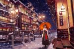 1girl architecture balcony bridge brown_hair east_asian_architecture flower hair_flower hair_ornament japanese_clothes kimono lamppost lantern medium_hair night night_sky original outdoors railing scenery sky snow snowing standing umbrella wide_sleeves yuzuriha